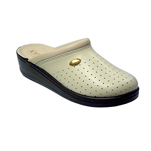 Italian On Beige Women's Beige Slip Leather Damiani's Shoes Shoemakers 300 by Clogs Perforated UwZCqxB
