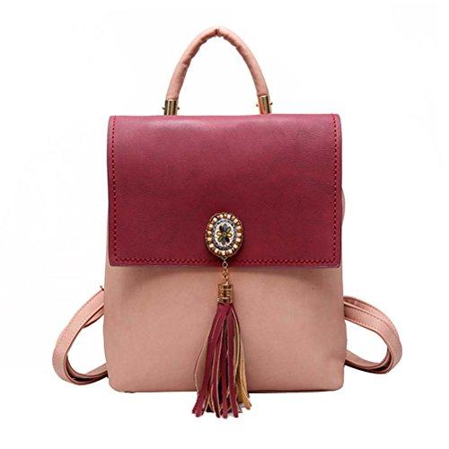 PU Backpack Co1 Drawstring Women Travel Tassel Belt Leather Hobo Donalworld Mini Shoulder Casual Black Handbags xqzTfW6RwI