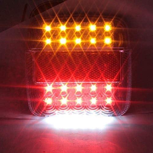 Biqing 2Pcs Feu Remorque LED 12V,Universel Feux Arri/ère LED Feux de Recul Freinage Clignotant Eclairage Phare Arri/ère Rouge et Ambre et Blanc Multifonctionnel /Éclairage de la plaque dimmatriculation