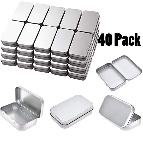 Tamicy Metal Rectangular Empty Hinged Tins - Pack of 40 Silver Mini Portable Box Containers Small Storage Kit & Home Organizer Small tins with lids Craft containers 3-1/2''X2-1/2''X4/5'' ()
