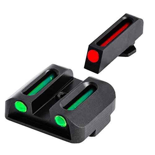 TRUGLO Fiber-Optic Front and Rear Handgun Sights for Glock Pistols, Glock 17 / 17L, 19, 22, 23, 24, 26, 27, 33, 34, 35, 38, and 39 (Sights Fiber Optic Handgun)