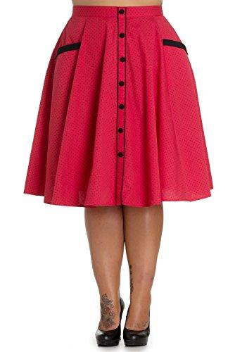 Plus Size Retro Jitterbug Inspired Swing Dance Love Red Polka Dot Circle Skirt (XXXL)