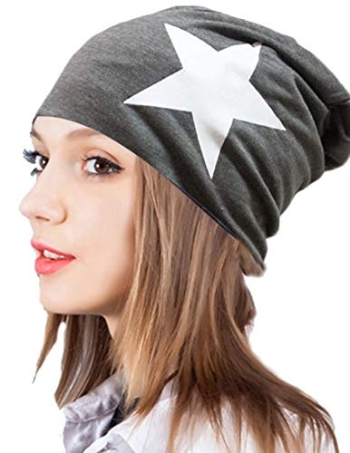 Thenice Women's Winter Cotton Beanie Cap Thin Hip-hop Star Hat (Dark grey)