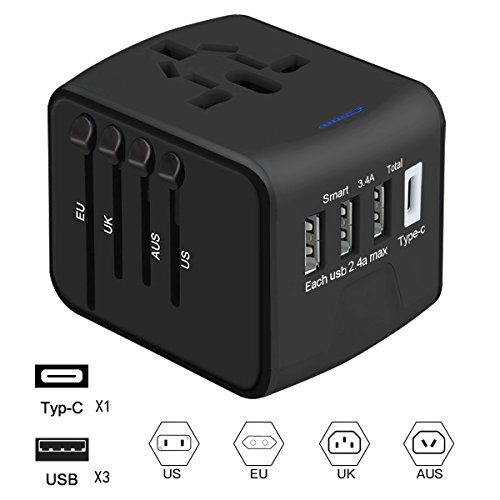 Travel Adapter, Universal Power Adapter All in One Wall AC Power Plug Worldwide with 3 USB & 1 Type-C 3.4A High Speed international power adapter for US,EU, UK, AUS
