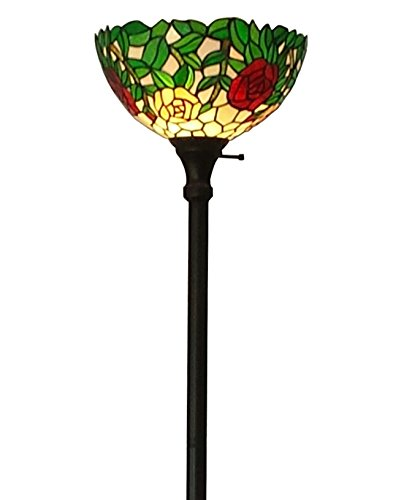 Amora Lighting AM051FL14 Tiffany Style Floral Floor Lamp 72 In (Floral Torchiere)