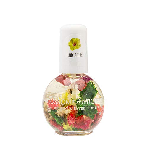 Blossom Scented Cuticle Oil (0.42 oz) infused with REAL flowers - made in USA (Hibiscus)