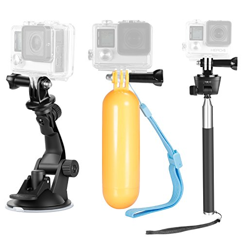 Neewer 9-in-1 Action Camera Accessory Kit for GoPro Hero 7 6 5 4 3 2 1, Hero Session, SJ4000/5000 Nikon and Sony Sports Camera, Includes Car Suction Cup, Selfie Monopod, Floating Hand Grip and More