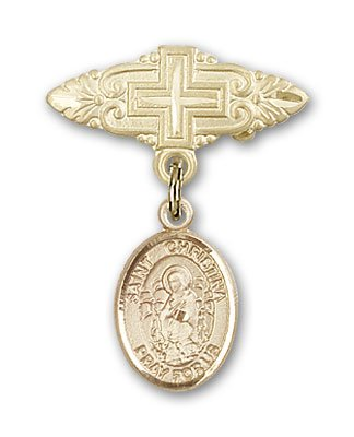 Religious Obsession Gold Filled Baby Badge with St. Christina the Astonishing Charm and Badge Pin with Cross by Religious Obsession