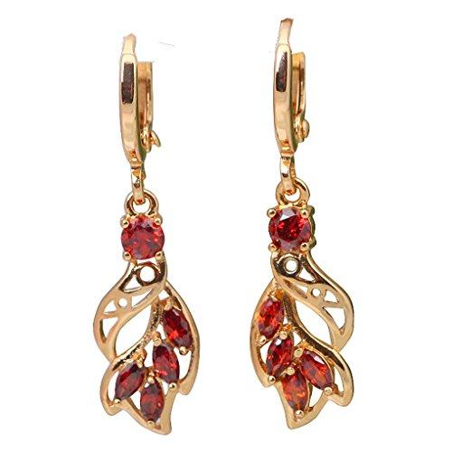 fonk: Fashion cz 18K gold plated Red Zircon Garnet earrings 52