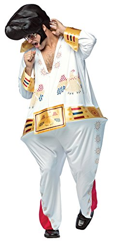 UHC Men's The King Hoopster Outfit Funny Elvis Jumpsuit Halloween Costume