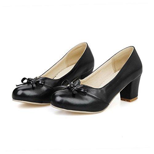 Amoonyfashion Womens Pu Solido Pull-on Tacco Chiuso Scarpe-tacco A Spillo-scarpe Con Farfallino Nero