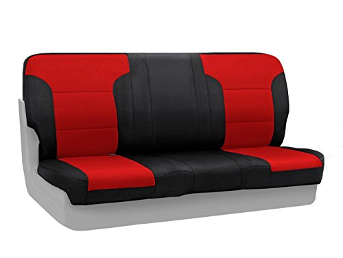 (Coverking Custom Fit Front Bench Seat Cover for Select Chevrolet Models - Spacermesh 2-Tone (Red with Black Sides))