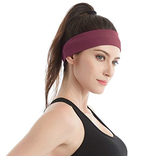 GEMLON Workout Headbands Women Yoga Sport Sweat Bands Non Slip Soft Stretchy Sweatbands Running Fitness Exercise Hairbands (Eosin)