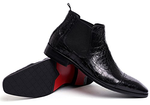 RAINSTAR Men's Crocodile Grain Chelsea Boot Casual Dress Slip On Ankle Boots Black 9 by RAINSTAR (Image #4)