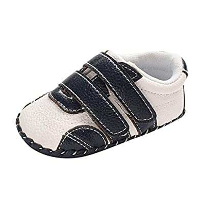 NUWFOR Infant Newborn Baby Girls Boy Prewalker Non-Slip Soft Sole Gym Shoes White