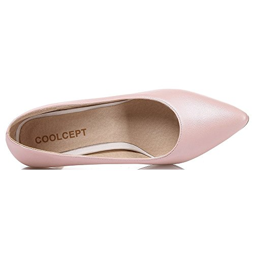 Coolcept Women Tacco Alto Scarpe A Punta Tinta Unita Slip-on Stiletto Elegante Rosa Formale