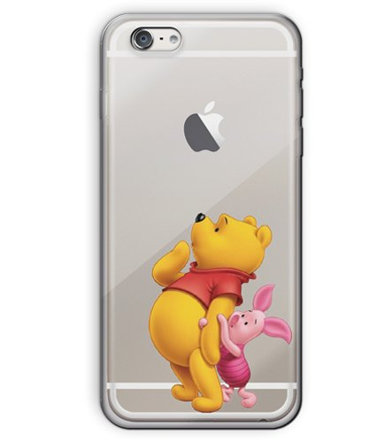 """iPhone 6/6s (4.7"""") Cartoon Silicone Phone Case / Gel Cover for Apple iPhone 6S 6 (4.7"""") / Screen Protector & Cloth / iCHOOSE / Pooh and Piglet"""