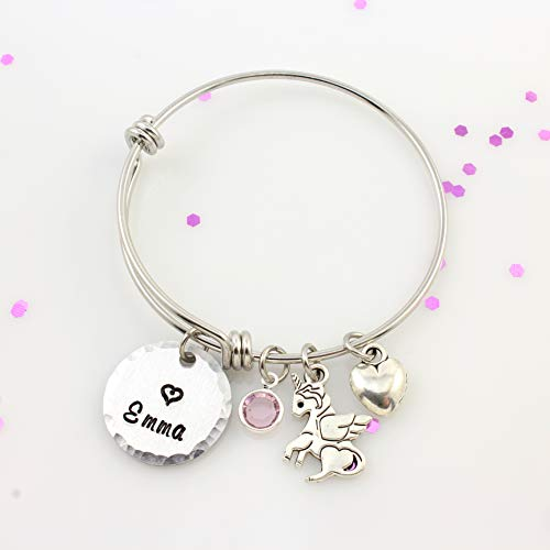 - Personalized Little Girls Unicorn Bracelet - Winged Unicorn Bangle Bracelet with Name & Birthstone - Silver Expandable Charm Bangle - Girls Birthday Gift - Name Bracelet - Birthstone Bangle
