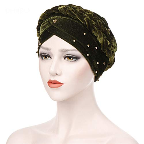 Forehead Cross Fleece Long Scorpion Beaded Head Cap Solid Color Gold Pearl Head Cap 03 one size