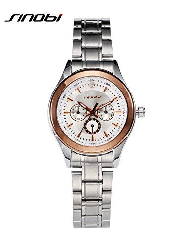 SINOBI Women Watch Elegant Brand Famous Luxury Silver Quartz Watches Ladies Steel Antique (Antique Ladies Watch)