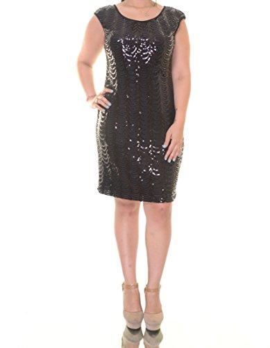 Sequin Women's Black Dress Connected Sleeve Cap Scallop ZIwxWqgR