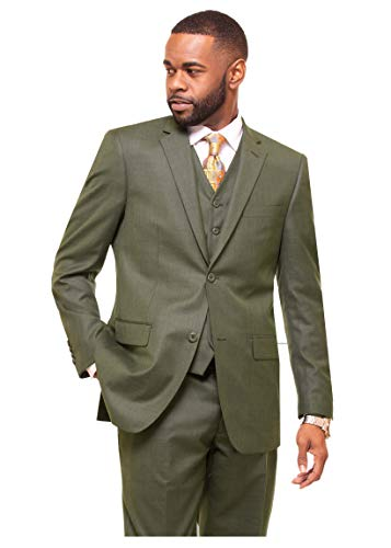 DANNY COLBY Men's 2 Button Vested Suit. (Olive), Modern FIT 3 PC