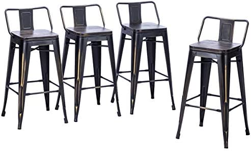 Andeworld Set of 4 Tolix-Style Counter Height Bar Stools Distressed Industrial Metal Bar Stools Distressed Gold, 26 Inch