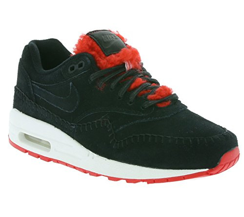 Nike Air Max 1 Prm Womens Fashion-sneakers 454746 Nero / Nero-action Rosso-bianco Sommità