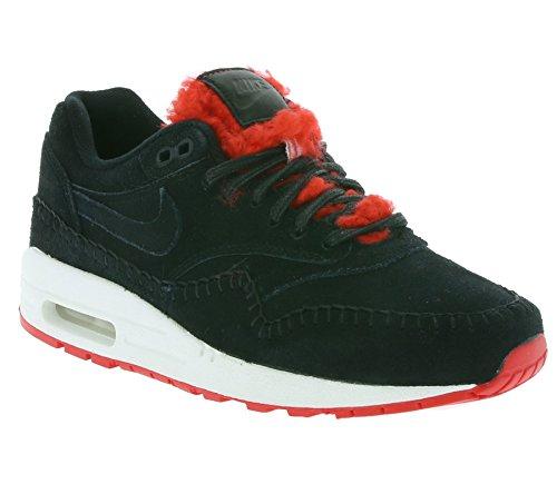 Nike Air Max 1 Prm Femmes Chaussures De Sport 454746 Noir / Noir-action Rouge-sommet Blanc