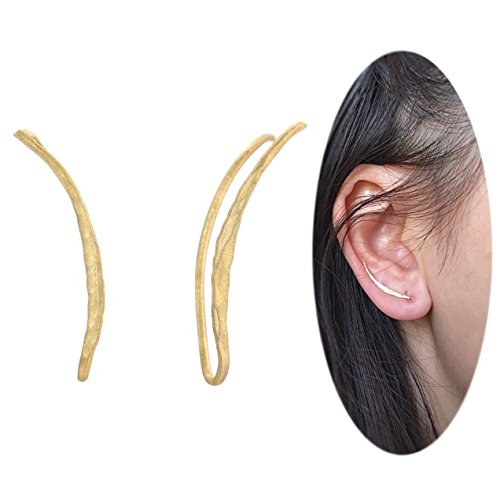 Ear Climber Crawler Cuff Earrings - 925 Sterling Silver Plated with 18K Matte Yellow Gold