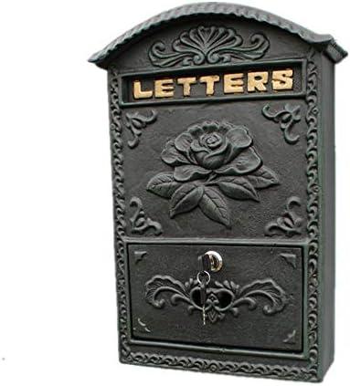 メールボックス アイアンレターボックスのパティオガーデン裏庭のヨーロピアンスタイルの壁に取り付けられたメールボックス 手紙を受け取るため (Color : As Shown, Size : 43.5x12x32cm)
