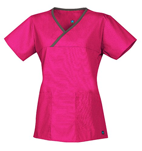 Neck Mock Core - Core by Maevn Women's Y-Neck Mock Wrap Solid Scrub Top Large Hot Pink/Pewter