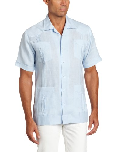 Cubavera Men's Short Sleeve 100% Linen Guayabera, Cashmere Blue, X Large