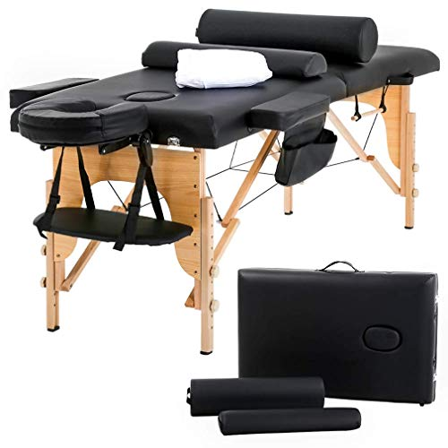 Massage Table Massage Bed Spa Bed 73 inch Long Height Adjustable Portable 2 Folding Massage Salon Table W/Sheet Cradle Bolsters Hanger Facial Salon Tattoo Bed (Renewed)