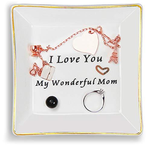 Clopare Ceramic Ring Dish Decorative Trinket Plate Jewelry Tray for Mom Birthday I Love You My Wonderful Mom