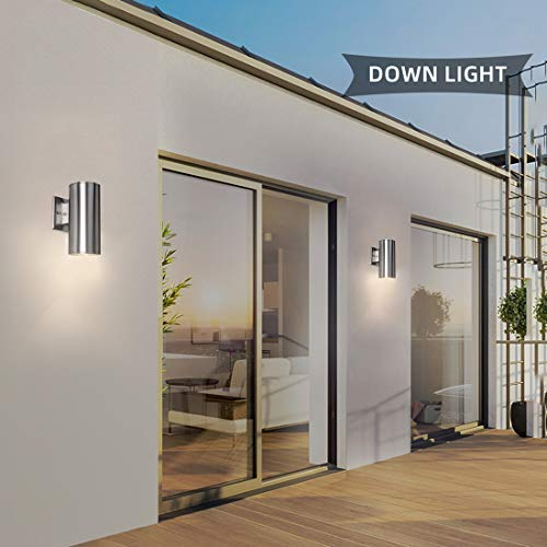 Outdoor Wall Mount Porch & Patio Light,Up Down Waterproof Light, Modern Exterior Lighting Fixtures,Silver 304 Stainless Steel and Toughened Glass,No Bulbs