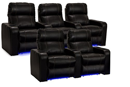 Seatcraft Dynasty - Home Theater Seating - Power Recline - Leather Gel - Cup Holders - USB Charging - Ambient Lighting - Wall Hugger - Row of 2 and Row of 3 - Black