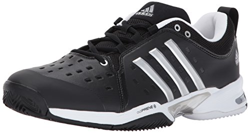 adidas  Barricade Classic Wide 4E Tennis Shoe,black/silver metallic/white,13 US