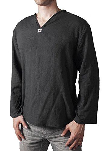 Lofbaz Men's V-Neck T-Shirt 100% Cotton Thai Hippie Shirt Yoga Top Black Size XL (Mens Black Tunic)
