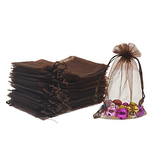 Lautechco 100Pcs Organza Bags 3x4 inches Brown Organza Gift Bags Small Mesh Bags Drawstring Gift Bags Christmas Drawstring Organza Gift Bags (3x4 inches Brown) ()