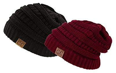 Trendy Warm Chunky Soft Stretch Cable Knit Slouchy Beanie Skully, Gift Set-Black & Burgundy, One Size