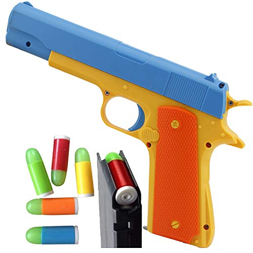 Feisuo Blasters Foam Play Toys Gun-Colt 1911 Toy Gun with Soft Bullets and Ejecting Magazine. Actual Size of M1911 with Slide Action Blue Barrel for Training or Play