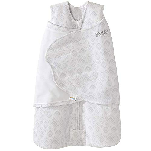 Halo Sleepsack Micro-Fleece Swaddle, Grey Diamond and Leaves, Newborn