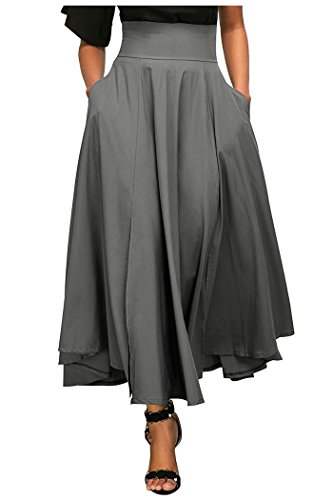 Kumer Women's High Waist Long Skirt Pleated A Line Swing Skirt Front Slit Belted Maxi Skirt, Grey, XX-Large