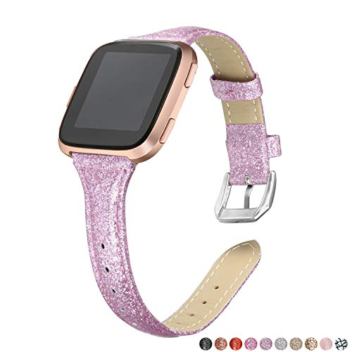 bayite Bands Compatible Fitbit Versa, Shiny Light Purple, Glitter Slim Leather Band Replacement Strap Accessories -