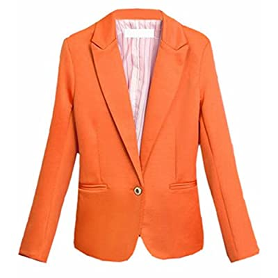 XiaoTianXin-women clothes XTX Womens Casual Candy Colors Blazer OL Long Sleeve One Button Jacket Orange XS supplier