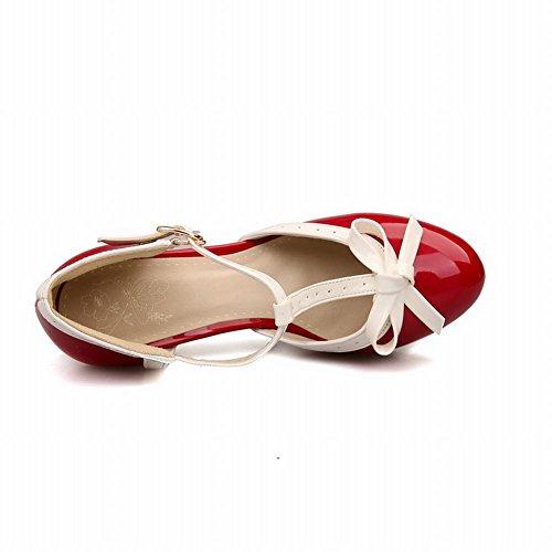 Carolbar Court Shoes High Bows Red Women's Charm Heel T Platform Strap 4wC4Zq6