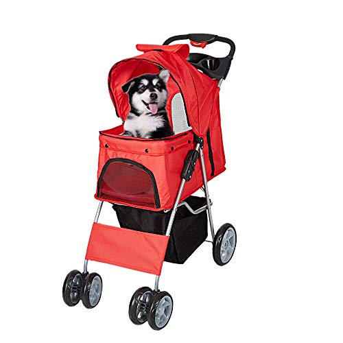 Livebest Folding 4-Wheels Pet Stroller Flexible Easy Walk Dog Cat Small Animals Jogging Travel Carrier with Two 360 Rotating Front Wheel