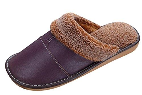 On Slip Unisex House Leather Liveinu Purple PU Plush Fleece Cozy Slippers RwTXdXIq