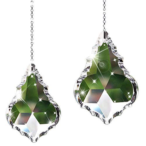SunAngel Colorful Jewelry Crystals Pendants &Chandelier Suncatchers Prisms Hanging Ornament Prisms Rainbow for Home,Office,Garden Decor (2 PCS Double-Sided Maple Leaf ()